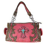 HOT PINK WESTERN STUDDED RHINESTONE BLUE STONE CROSS LOOK SHOULDER HANDBAG HB1-W6CCRHPK