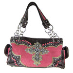 HOT PINK WESTERN RHINESTONE CROSS LOOK SHOULDER HANDBAG HB1-34LCRHPK