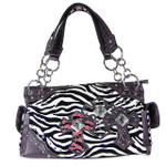 PURPLE ZEBRA STUDDED RHINESTONE CROSS LOOK SHOULDER HANDBAG HB1-FZTCRPPL