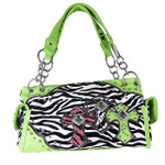GREEN ZEBRA STUDDED RHINESTONE CROSS LOOK SHOULDER HANDBAG HB1-FZTCRGRN
