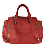 HOT PINK STUDDED LEATHERETTE LOOK SHOULDER HANDBAG HB1-HC0077HPK