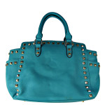 TURQUOISE STUDDED LEATHERETTE LOOK SHOULDER HANDBAG HB1-HC0077TRQ