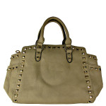 BEIGE STUDDED LEATHERETTE LOOK SHOULDER HANDBAG HB1-HC0077BEI