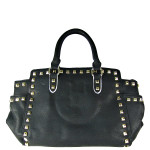 BLACK STUDDED LEATHERETTE LOOK SHOULDER HANDBAG HB1-HC0077BLK