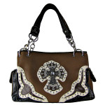 BROWN WESTERN RHINESTONE CROSS LOOK SHOULDER HANDBAG HB1-HC0076BRN