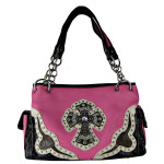HOT PINK WESTERN RHINESTONE CROSS LOOK SHOULDER HANDBAG HB1-HC0076HPK