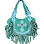 TURQUOISE RUFFLE RHINESTONE CROSS LOOK SHOULDER HANDBAG HB1-HC0072TRQ