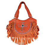 CORAL RUFFLE RHINESTONE CROSS LOOK SHOULDER HANDBAG HB1-HC0072CRL