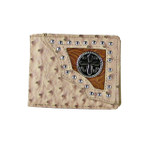 BEIGE OSTRICH STUDDED TOOLING CROSS MENS WALLET MW1-0433BEI