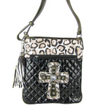 BLACK METALLIC LEOPARD STUDDED RHINESTONE CROSS LOOK MESSENGER BAG MB1-HC01080BLK