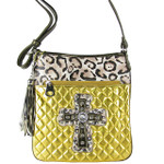 GOLD METALLIC LEOPARD STUDDED RHINESTONE CROSS LOOK MESSENGER BAG MB1-HC01080GLD