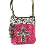 HOT PINK METALLIC LEOPARD STUDDED RHINESTONE CROSS LOOK MESSENGER BAG MB1-HC01080HPK