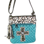 TURQUOISE METALLIC LEOPARD STUDDED RHINESTONE CROSS LOOK MESSENGER BAG MB1-HC01080TRQ