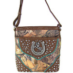 BROWN MOSSY CAMO STUDDED RHINESTONE HORSESHOE LOOK MESSENGER BAG MB1-HH395-50BRN