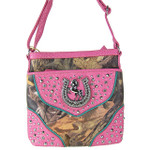 HOT PINK MOSSY CAMO STUDDED RHINESTONE HORSESHOE LOOK MESSENGER BAG MB1-HH395-50HPK