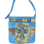 BLUE MOSSY CAMO STUDDED RHINESTONE CROSS LOOK MESSENGER BAG MB1-HC393-50TRQ