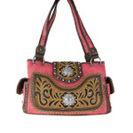 HOT PINK WESTERN STUDDED FLOWER RHINESTONE LOOK SHOULDER HANDBAG HB1-CHF0042HPK
