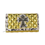 GOLD RHINESTONE CROSS LEOPARD PATTERN SHINY METALLIC LEATHERETTE LOOK CHECKBOOK WALLET CB1-0425GLD