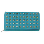 TURQUOISE STUDDED LEATHERETTE LOOK CHECKBOOK WALLET CB1-1209TRQ