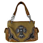 BEIGE WESTERN RHINESTONE CROSS LOOK SHOULDER HANDBAG HB1-HC0087BEI
