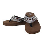 BROWN CROC RHINESTONE CROSS FLIP FLOP FF1-S031-1BRN