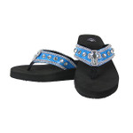 BLUE CROC RHINESTONE CROSS FASHION FLIP FLOP FF1-S006BLU