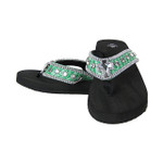 EMERALD CROC RHINESTONE CROSS FASHION FLIP FLOP FF1-S006EMD