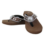 BROWN CROC RHINESTONE FLOWER FASHION FLIP FLOP FF1-S018BRN