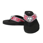 HOT PINK CROC RHINESTONE FLOWER FASHION FLIP FLOP FF1-S018HPK
