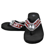 RED CROC RHINESTONE FLOWER FASHION FLIP FLOP FF1-S018RED