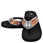 ORANGE CROC RHINESTONE FLOWER FASHION FLIP FLOP FF1-S018ORG