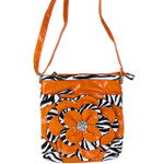 ORANGE ZEBRA FLOWER DISTRESSED LOOK MESSENGER BAG MB1-YJ2016-4ORG