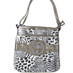 GRAY CROSS ZEBRA/LEOPARD LOOK MESSENGER BAG MB1-9114-1GRY
