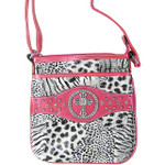 HOT PINK CROSS ZEBRA/LEOPARD LOOK MESSENGER BAG MB1-9114-1HPK