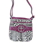 PURPLE CROSS ZEBRA/LEOPARD LOOK MESSENGER BAG MB1-9114-1PPL