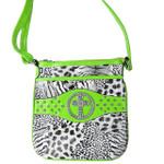 GREEN CROSS ZEBRA/LEOPARD LOOK MESSENGER BAG MB1-9114-1GRN