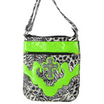 GREEN LEOPARD PRINT CROSS MESSENGER BAG MB1-C979GRN
