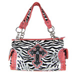 HOT PINK ZEBRA RHINESTONE CROSS SHOULDER HANDBAG HB1-FZLCRHPK