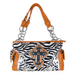 ORANGE ZEBRA RHINESTONE CROSS SHOULDER HANDBAG HB1-FZLCRORG