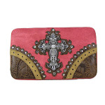 HOT PINK WESTERN RHINESTONE CROSS LOOK FLAT THICK WALLET FW2-04100HPK