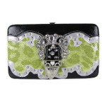 GREEN LEOPARD METALLIC STUDDED RHINESTONE BUCKLE LOOK FLAT THICK WALLET FW2-12103GRN