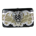TAN LEOPARD METALLIC STUDDED RHINESTONE BUCKLE LOOK FLAT THICK WALLET FW2-12103TAN