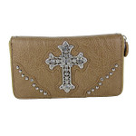 TAN RHINESTONE CROSS  LEATHERETTE LOOK CHECKBOOK WALLET CB1-0414TAN
