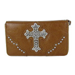 BROWN RHINESTONE CROSS  LEATHERETTE LOOK CHECKBOOK WALLET CB1-0414BRN