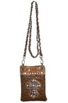 BROWN OSTRICH RHINESTONE CROSS MINI MESSENGER BAG MB2-0411BRN