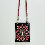 HOT PINK STUDDED RHINESTONE CROSS MINI MESSENGER BAG MB2-0407HPK