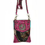 HOT PINK CAMO STUDDED RHINESTONE HORSESHOE MINI MESSENGER BAG MB2-1202HPK