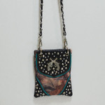 BLACK CAMO STUDDED RHINESTONE PISTOLS MINI MESSENGER BAG MB2-1206BLK