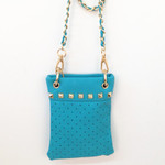 TURQUOISE GOLD STUDS MINI MESSENGER BAG MB2-1204TRQ