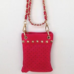 HOT PINK GOLD STUDS MINI MESSENGER BAG MB2-1204HPK